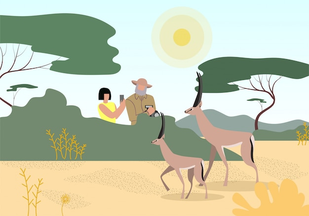 Safari, wildlife photography flat illustration