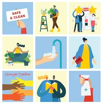 안전하고 깨끗합니다. 함께 강해집니다. 만화 다채로운 그림 세트