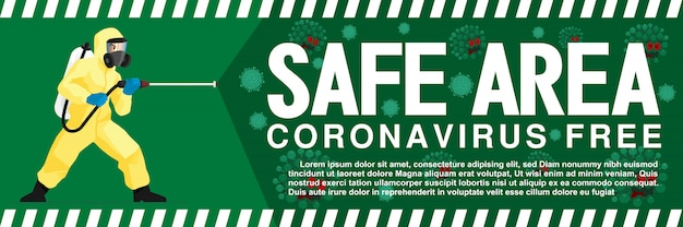 Safe area signage from coronavirus or covid-19 outbreak