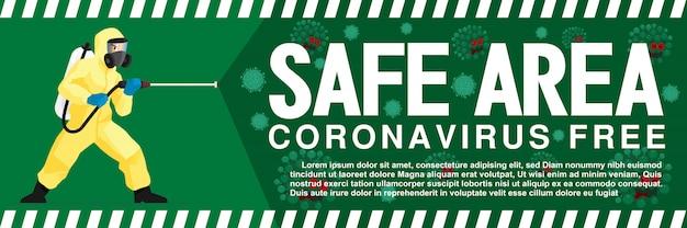 コロナウイルスまたはcovid-19の発生からの安全なエリアの標識