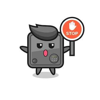Safe box character illustration holding a stop sign , cute style design for t shirt, sticker, logo element