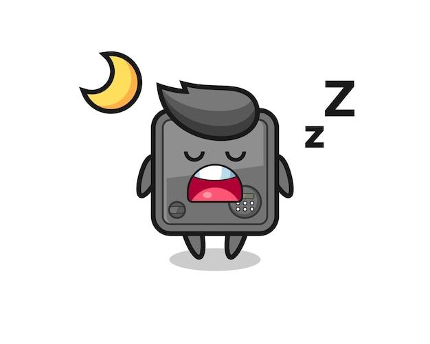 Иллюстрация персонажа сейфа, спящего ночью, милый стиль дизайна для футболки, наклейки, элемента логотипа