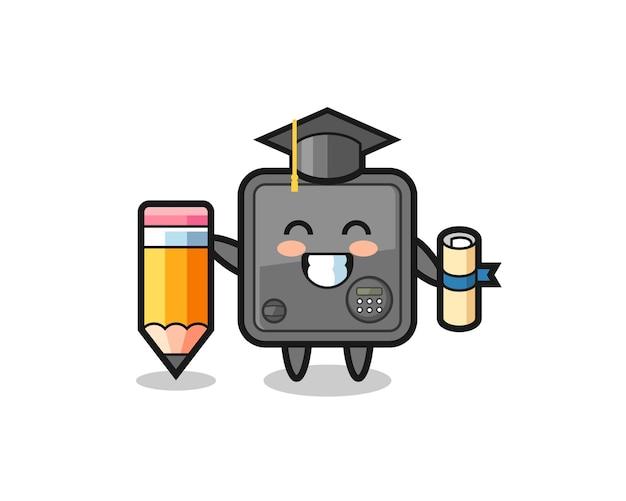 セーフボックスイラスト漫画は巨大な鉛筆、tシャツ、ステッカー、ロゴ要素のかわいいスタイルのデザインで卒業です