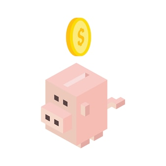 Safe box pig isometric icon - vetorial