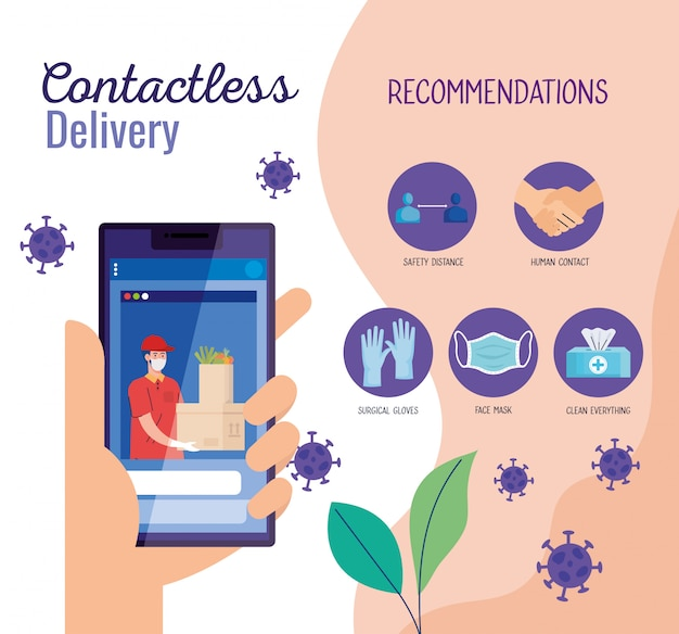 Safe contactless delivery courier by covid-19, stay home, order goods online by smartphone