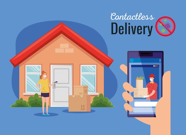 Safe contactless delivery courier to home by covid-19, stay home, order goods online by smartphone