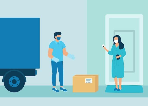 구매자에게 안전한 비접촉 상품 배송. 자동차로화물 배송. 남자 택배가 여자 고객에게 소포 상자를 배달했습니다. 코로나 바이러스 전염병 개념. 삽화