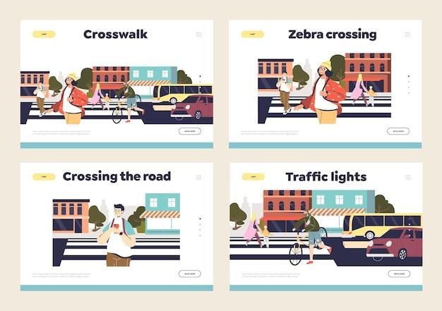 Безопасное пересечение дороги и концепция безопасности пешеходов Premium векторы