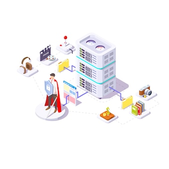 Safe database. a young guy with a shield in his hands. isometric illustration