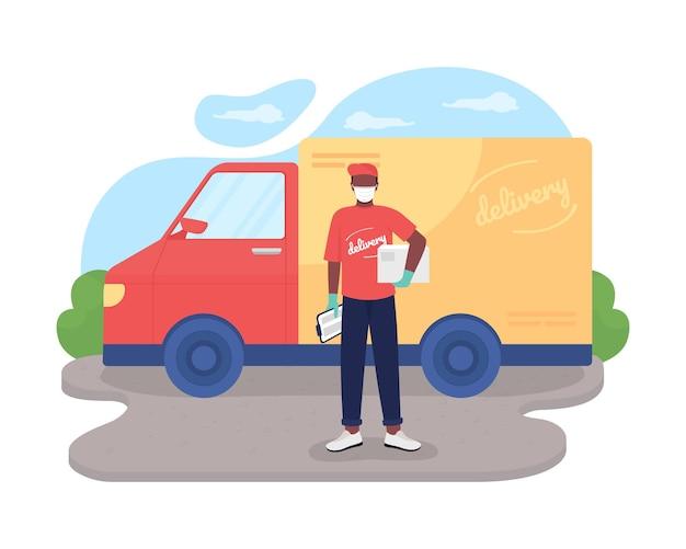 안전한 배달 2d 벡터 웹 배너, 포스터입니다. 만화 배경에 마스크 평면 캐릭터에 아프리카계 미국인 택배. 코로나바이러스 대유행 인쇄 가능한 패치, 다채로운 웹 요소 중 필수 서비스