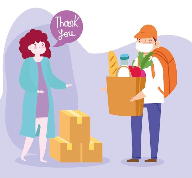 Безопасная доставка на дом во время приема коронавируса covid-19, курьера и клиента в маске с сумкой и коробками