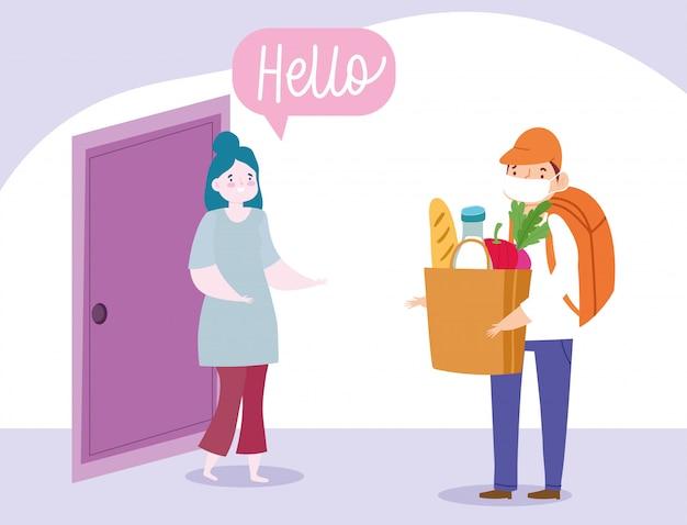 コロナウイルスcovid-19中の自宅での安全な配達、食品と女性の顧客がいる配達人のキャリングバッグ