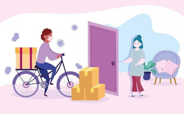 コロナウイルスcovid-19中に自宅で安全な配達、宅配便の男が自転車に乗って、家の図で配達を待っている顧客