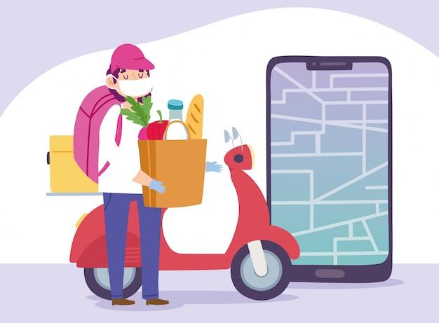 コロナウイルスcovid-19、食料品の袋のスクーターとスマートフォンのイラストを持つ宅配便の男の間に自宅で安全な配達
