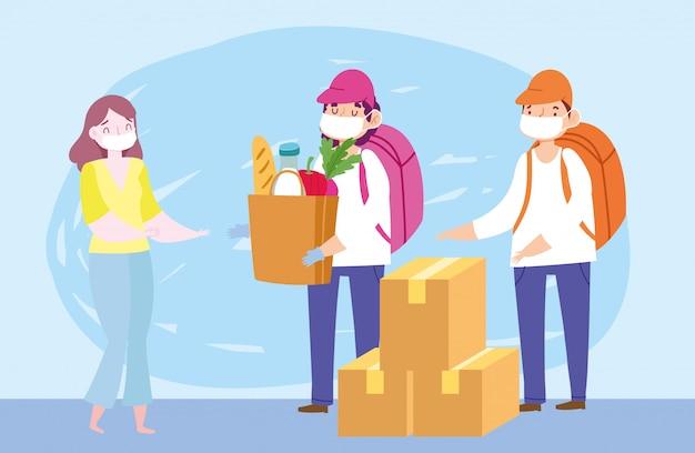 Безопасная доставка на дом во время коронавируса covid-19, курьеров с продуктовой сумкой и коробками для покупателя