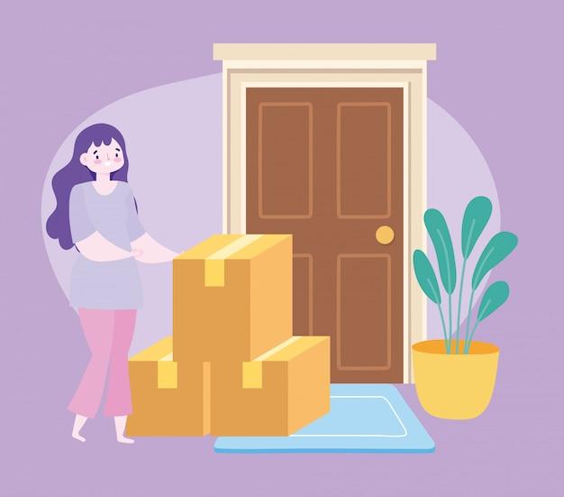 コロナウイルスcovid-19、ドアの図に段ボール箱を持つ女性客の間に自宅で安全な配達