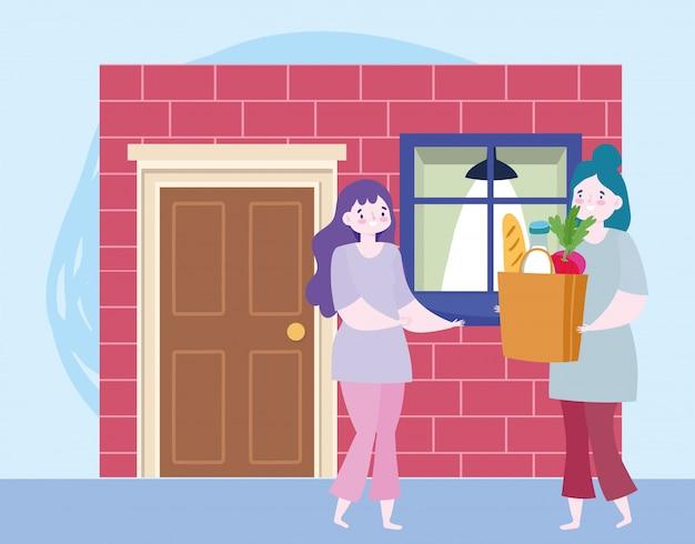 コロナウイルスcovid-19、ドアの家の図に食料品の袋を持つ女性の間に自宅で安全な配達