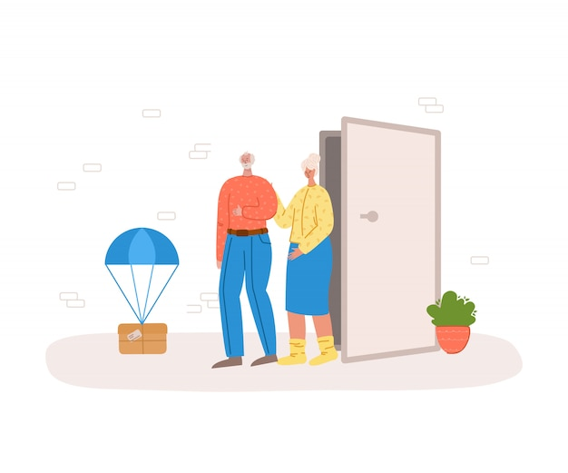 Safe delivery concept - contact less delivery of parcels to home to front door, express courier service for sineors or old people