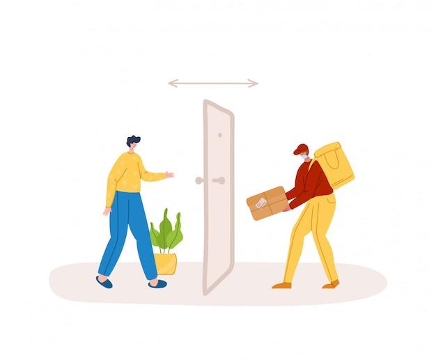 Концепция безопасной доставки - бесконтактная доставка товаров или посылок на дом до входной двери, экспресс-курьерская служба