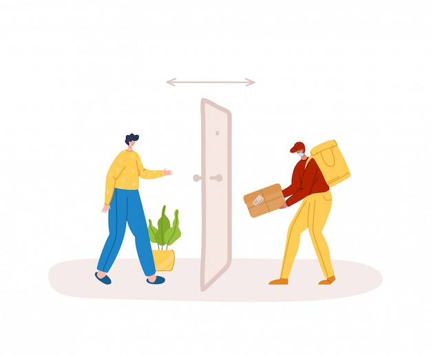 Safe delivery concept - contactless delivery of products or parcels to home to front door, express courier service