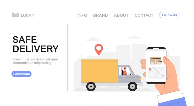 Safe delivery concept, courier driving a yellow delivery car, hand holding a phone with tracking courier's location.
