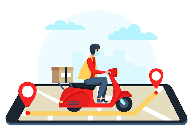 Safe delivery concept, delivery man on red scooter, moped, motorcycle.  illustration in flat style