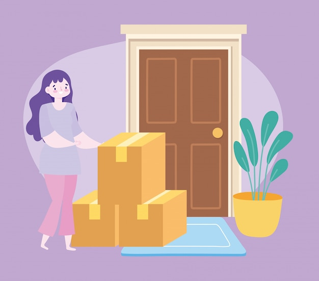 Safe delivery at home during coronavirus covid-19, female customer with cardboard boxes in door  illustration