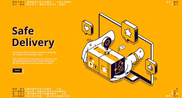 Safe delivery online service isometric landing