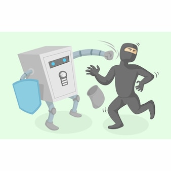 Safe deposit box character against thieves vector illustration