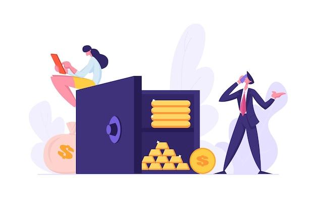 Концепция сейфа с людьми и иллюстрации сбережений денег