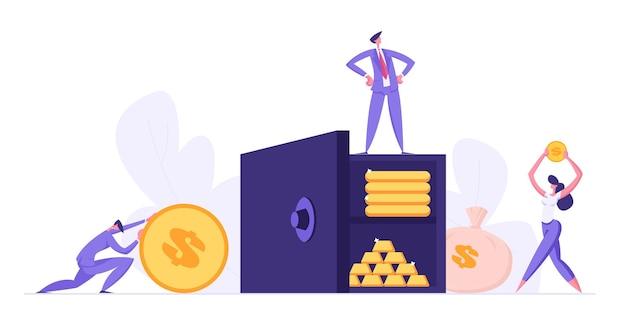 Концепция сейфа с людьми, собирающими экономию денег иллюстрация