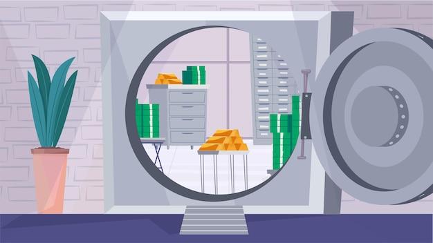 평면 만화 디자인의 안전 금고 내부 개념입니다. 금속 금고, 금괴 및 내부의 돈 더미에 대한 문을 엽니다. 예금 보호, 은행 서비스. 벡터 일러스트 레이 션 가로 배경