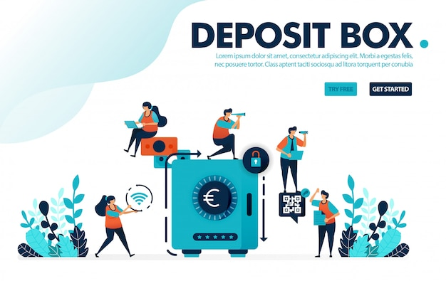 Safe deposit box, people secure and save money in banks