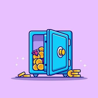Cassetta di sicurezza con monete d'oro e diamanti