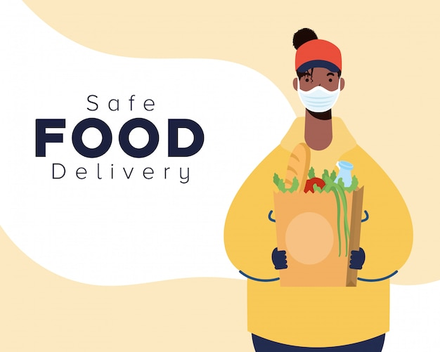 Safe food delivery afro female worker with groceries bag