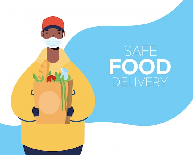 Safe food delivery afro worker with groceries bag