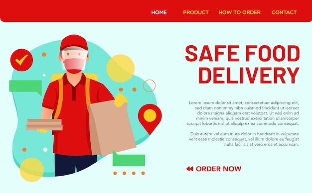 ランディングページの安全な食品配達のコンセプト。フードデリバリー担当者は、すべてのデリバリー活動を実行する際にフェイスシールドを使用します