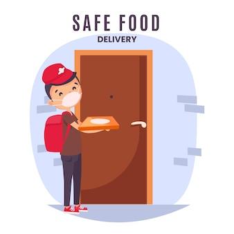 安全な食品配達のコンセプト