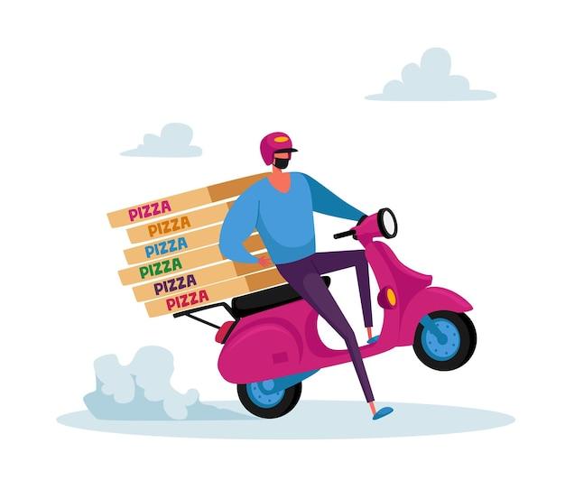 Безопасная доставка еды. курьер в маске доставляет заказ на продукты домой покупателю во время пандемии коронавируса
