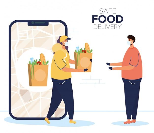 Безопасная доставка еды работница с продуктовой сумкой и клиентом в смартфоне