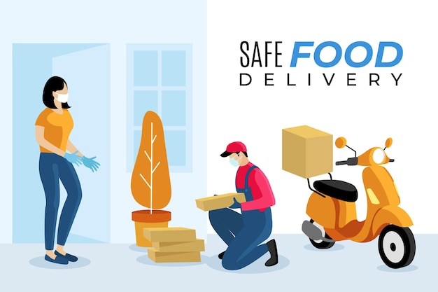 Safe food delivery guy on scooter