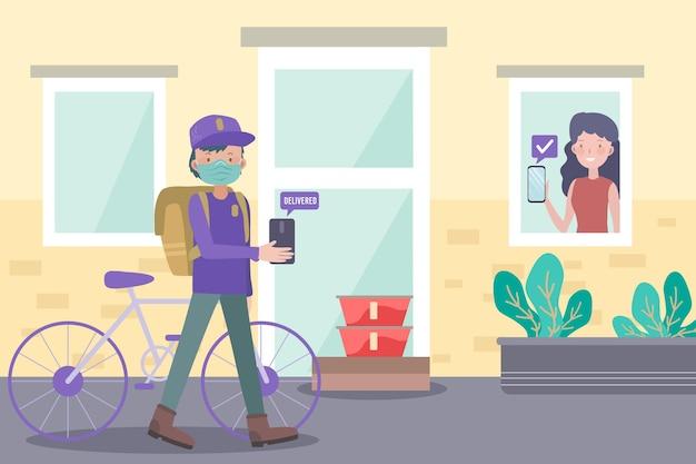 Иллюстрация безопасной доставки еды