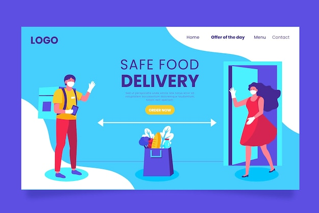 Safe food delivery landing page illustrated