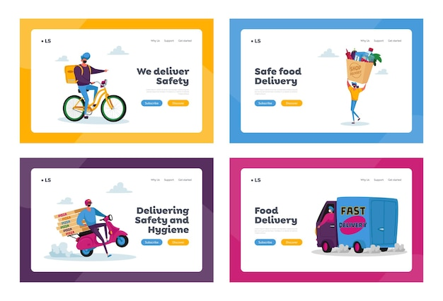 Safe food delivery landing page template set. courier characters in mask deliver grocery production to customer by car, scooter, bike