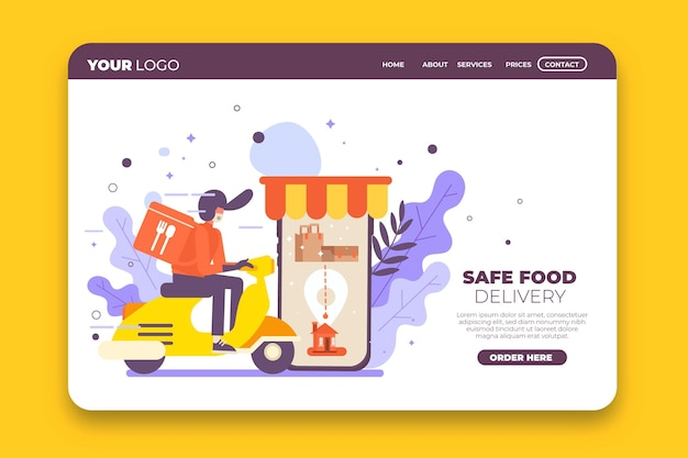 Safe food delivery landing page template