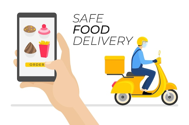 安全な食品配達注文と受け取り