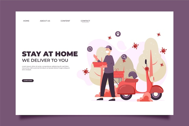 Safe food delivery stay at home landing page