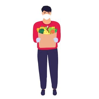 Безопасная доставка еды. курьер в защитной маске принес еду.