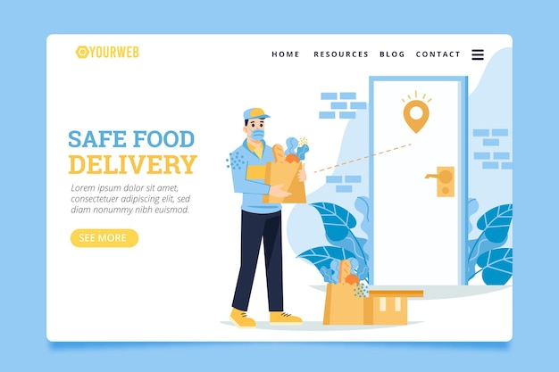 Safe food delivery with bags at the door landing page