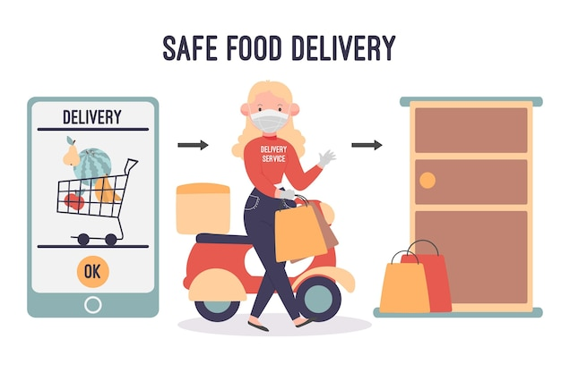 Safe food delivery with woman and smartphone